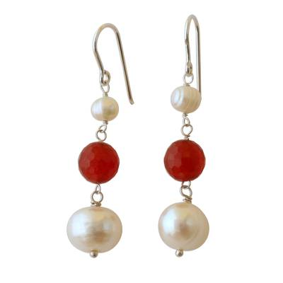 White Cultured Pearl and Carnelian Earrings from Brazil