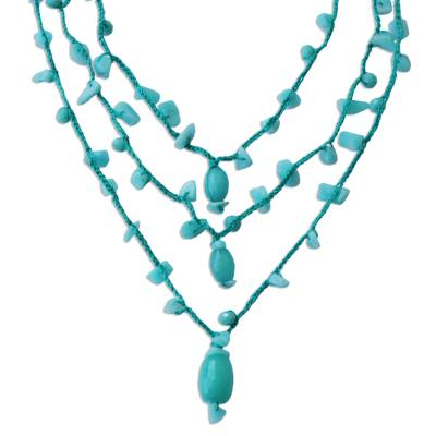Amazonite and Jade 3 Strand Crochet Necklace from Brazil
