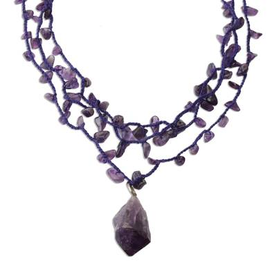 Handcrafted Amethyst 3 Strand Crochet Necklace from Brazil