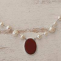 Cultured pearl and carnelian pendant necklace, 'Fire in the Clouds' - White Cultured Pearl and Carnelian Necklace from Brazil