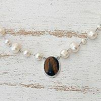 Cultured pearl and tiger's eye pendant necklace, 'Honey in the Clouds' - White Cultured Pearl and Tiger's Eye Necklace from Brazil
