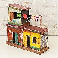 Recycled wood sculpture, 'Favela Life' - Recycled Wood Sculpture of 3 Brazilian Favela Houses