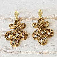 Gold accent golden grass dangle earrings, 'Curlycue' - Brazilian Golden Grass and Rhinestone Curlycue Earrings