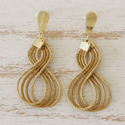 Gold accent golden grass dangle earrings, 'Glamorous Curves' - Brazilian Golden Grass Dangle Earrings with 18k Gold Plate