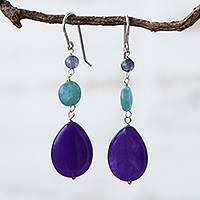 Jade and apatite dangle earrings, 'Springtime Colors' - Brazilian Purple Jade & Aqua Apatite Dangle Earrings