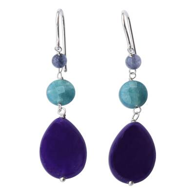Brazilian Purple Jade & Aqua Apatite Dangle Earrings
