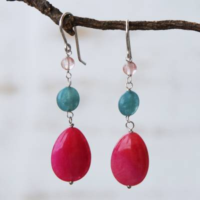 Jade and cherry quartz dangle earrings, Springtime Colors