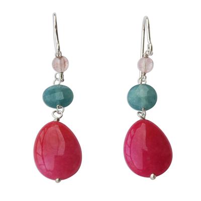 Brazilian Hot Pink Jade & Apatite Dangle Earrings