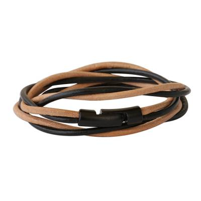 Leather cord bracelet, 'Different Rivers' - Black and Beige Leather Cord Bracelet from Brazil