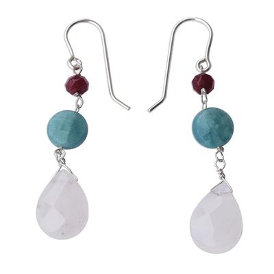 Brazilian Rose Quartz-Jade- Apatite Dangle Earrings