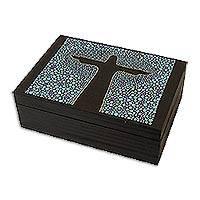 Wood jewelry box, 'Azure Christ the Redeemer' (4.5 inch) - Blue Black Hand Painted Cristo Redentor Box 4.5 Inches