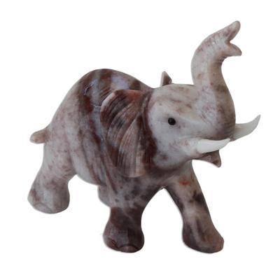 Magnesite figurine, 'Proud Royal Elephant' - Handcrafted Brazilian Gemstone Elephant Sculpture