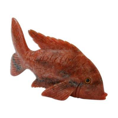 Artisan Crafted Orange Calcite Fish Sculpture from Brazil