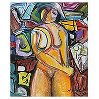 'Woman' - Modern Cubist Female Nude Painting from Brazil
