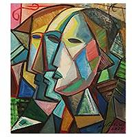 'Three Faces' - Cubist Painting of Three Faces in Profile