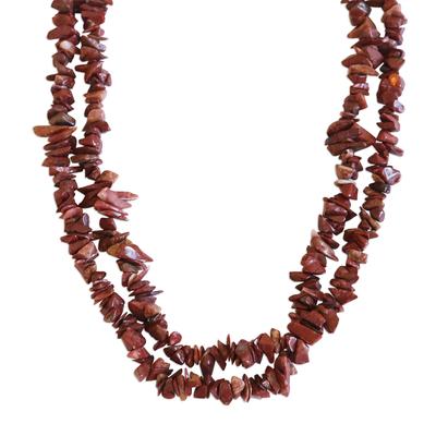 Long Polished Red Jasper Chip Necklace