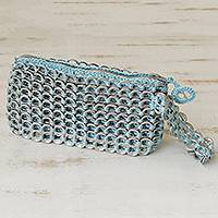 Soda pop-top wristlet, 'Fashionable Baby Blue' - Multicolored Aluminum Soda Pop-Top Wristlet from Brazil
