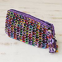 Soda pop-top wristlet, 'Fashionable Rainbow' - Rainbow Colored Soda Pop-Top Wristlet from Brazil