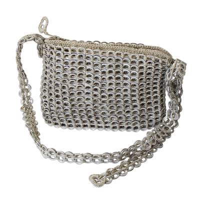 Silvery Upcycled Soda Pop-Top Cosmetics Shoulder Bag