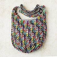 Soda pop-top shoulder bag, 'Eco.Rainbow' - Hand Crocheted Recycled Pop-top Zipper Shoulder Bag