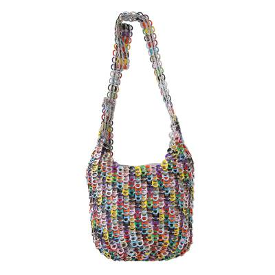 Hand Crocheted Recycled Pop-top Zipper Shoulder Bag