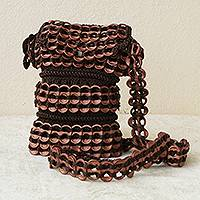 Soda pop-top cell phone bag, 'Coppery Shine' - Brown Recycled Pop-top Shoulder Strap Cell Phone Bag