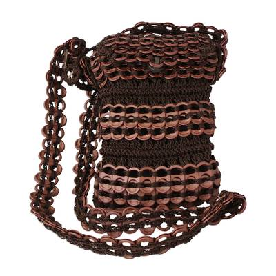 Brown Recycled Pop-top Shoulder Strap Cell Phone Bag