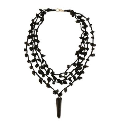 Obsidian 4 Strand Crochet Necklace from Brazil