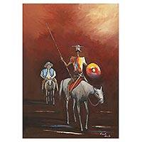 'Red Don Quixote' - Colorful Signed Oil Painting of Don Quixote on Red