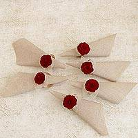 Wood and natural fiber napkin rings, 'Claret Red Roses' (set of 6) - 6 Wood and Natural Fiber Claret Red Floral Napkin Rings