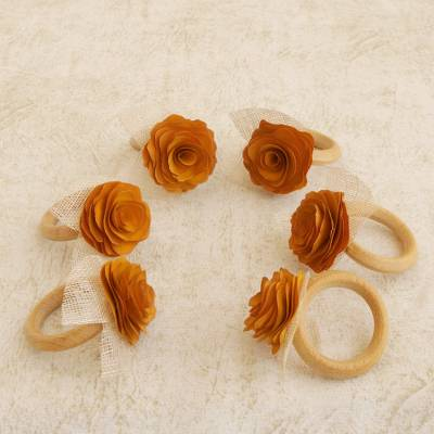 Wood and natural fiber napkin rings, Sunset Roses (set of 6)