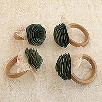 Wood and natural fiber napkin rings, 'Moss Green Roses' (set of 4) - 4 Wood and Natural Fiber Moss Green Floral Napkin Rings