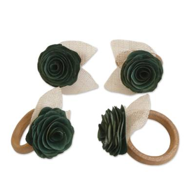 4 Wood and Natural Fiber Moss Green Floral Napkin Rings