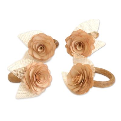 4 Wood and Natural Fiber Beige Floral Napkin Rings