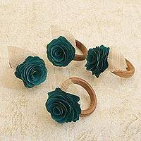 Wood and natural fiber napkin rings, 'Teal Green Roses' (set of 4) - 4 Wood and Natural Fiber Teal Green Floral Napkin Rings