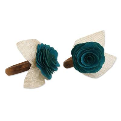 4 Wood and Natural Fiber Teal Green Floral Napkin Rings
