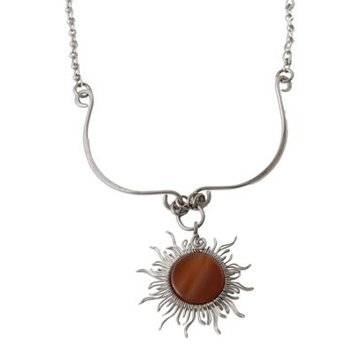 Sun Themed Agate Pendant Necklace