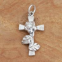 Diamond and rhodium plated sterling silver pendant, 'Cross of Roses' - Cross and Rose Pendant with Genuine Diamond
