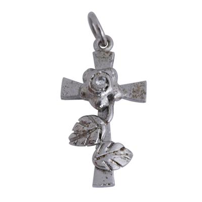 Cross and Rose Pendant with Genuine Diamond