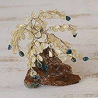 Gemstone sculpture, 'Tree of Clarity' - Crystal Quartz and Apatite Gemstone Tree Sculpture