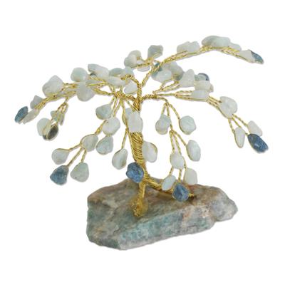 Gemstone sculpture, 'Tree of Conviction' - Hand Crafted Gemstone Tree Sculpture with Aquamarine