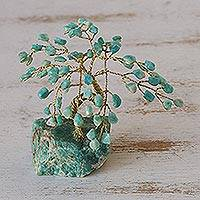 Gemstone sculpture, 'Tree of Courage' - Amazonite Gemstone Tree from Brazil
