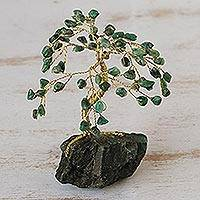 Gemstone sculpture, 'Tree of Unconditional Love' - Genuine Emerald Tree Sculpture from Brazil