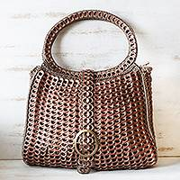 Soda pop-top handle handbag, 'Coppery Color' - Coppery Crocheted Recycled Soda Pop-Top Handbag