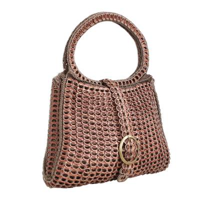 Coppery Crocheted Recycled Soda Pop-Top Handbag