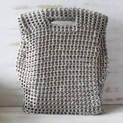 Soda pop-top handle handbag, 'Silvery Curves' - Silvery Brazil Eco-Art Recycled Pop-Top Handle Handbag