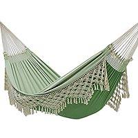 Reversible cotton hammock, 'Swaying Palms' (double) - Reversible Cotton Double Hammock in Green