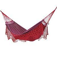 Reversible cotton hammock, 'Rosy Hibiscus' (double) - Artisan Crafted Double Cotton Hammock in Red