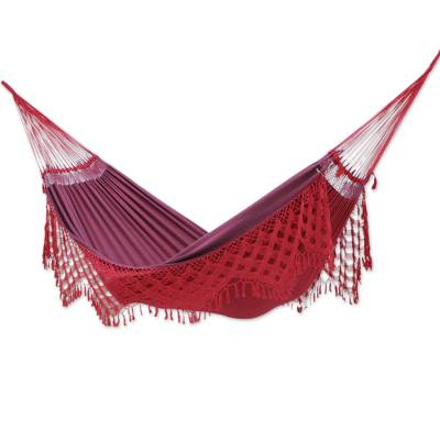 Artisan Crafted Double Cotton Hammock in Red