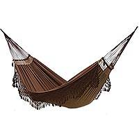 Reversible cotton hammock, 'Ipanema Earth' (double) - Reversible All Cotton Hammock in Brown (Double)